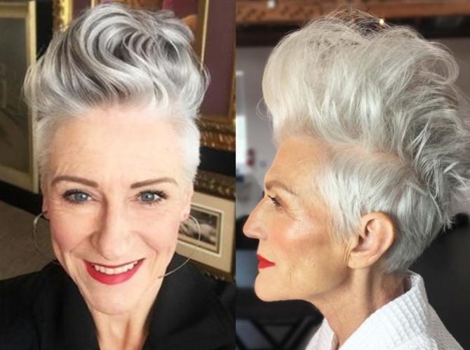 сильно омолаживающая стрижка пикси на седых волосах у женщины 75 лет
