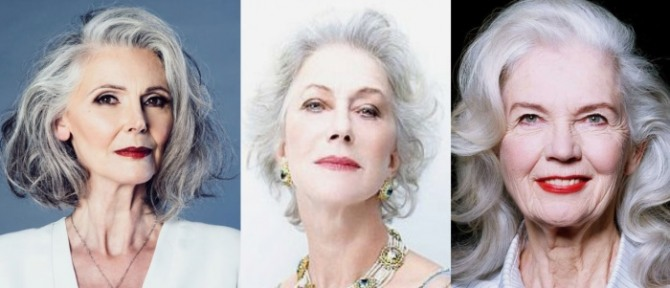 красивые пожилые женщины за 70 с прическами на седых волосах