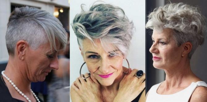 пикси на седых волосах - тренды для женщин 60 плюс