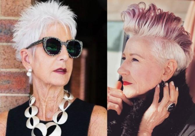 омолаживающие скрывающие возраст короткие стрижки для женщин 75 лет