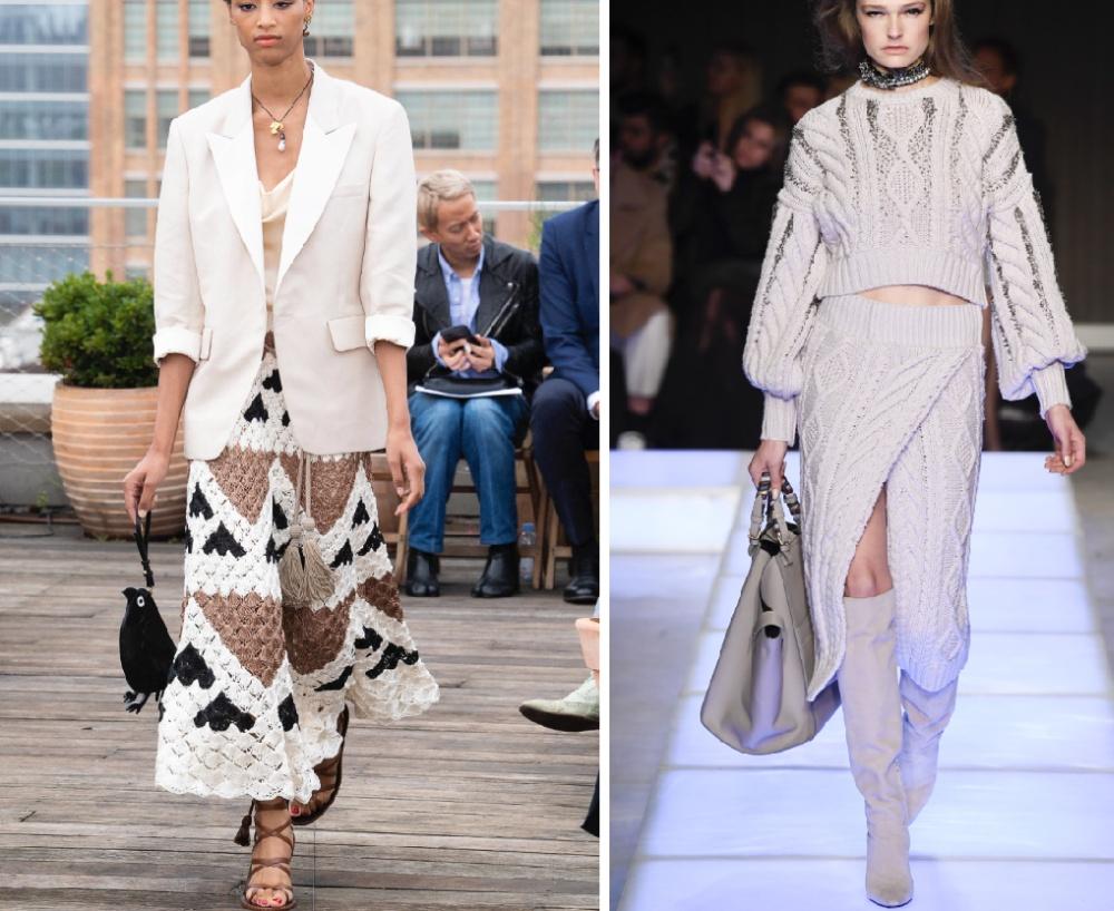 фото модной вязаной женской одежды 2019 года трикотажные платья