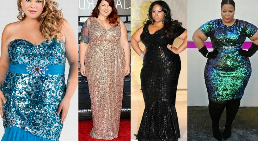 Блестящие большого размера платья