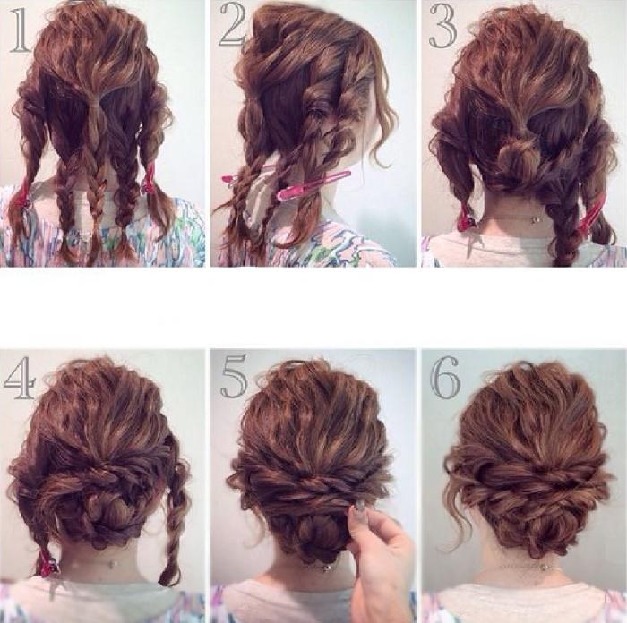Схема плетения праздничной причёски с бубликом.