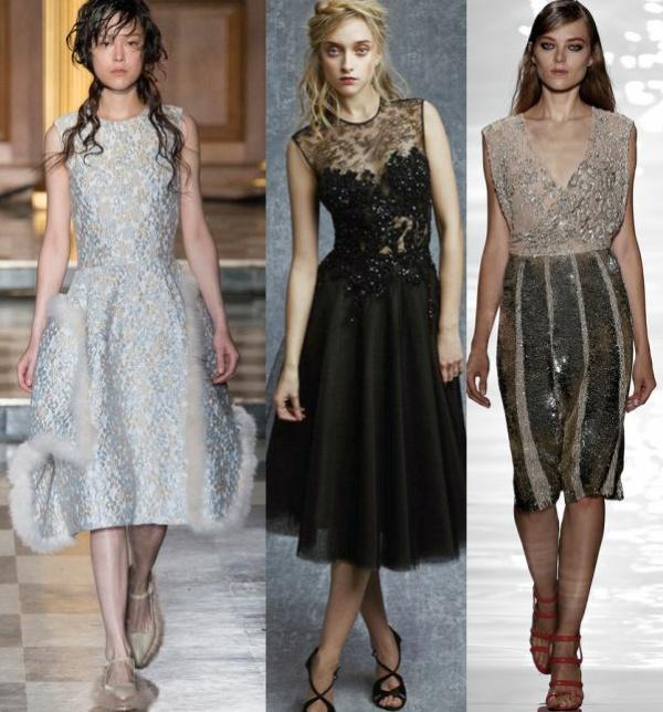 Фасоны вечерних платьев миди