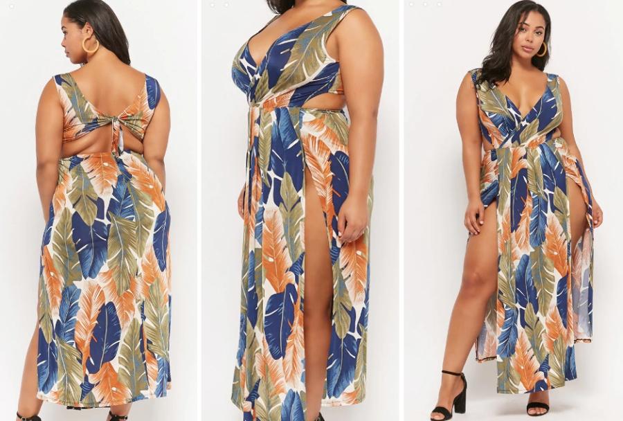 603f10b1e21 красивое открытое летнее платье для полной женщины - фасон вид спереди и  сзади