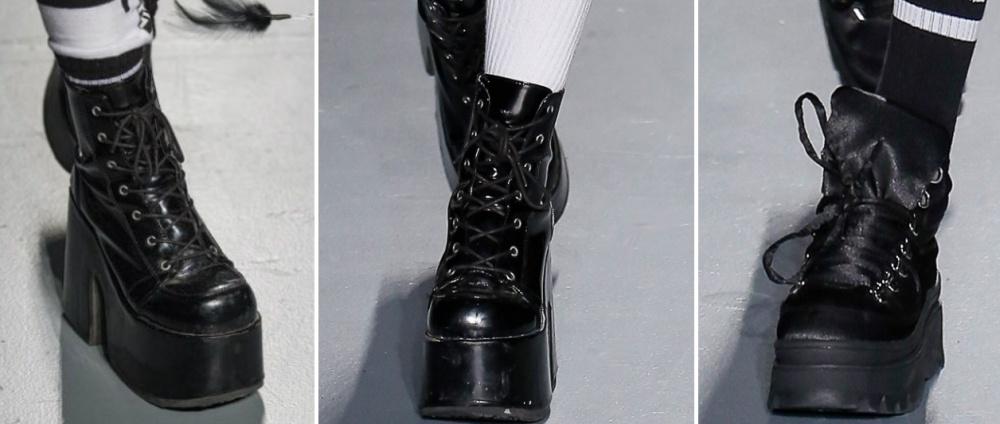 00fc6d6f9 женские ботинки черные высокая платформа - сплошная и только в носочной  части