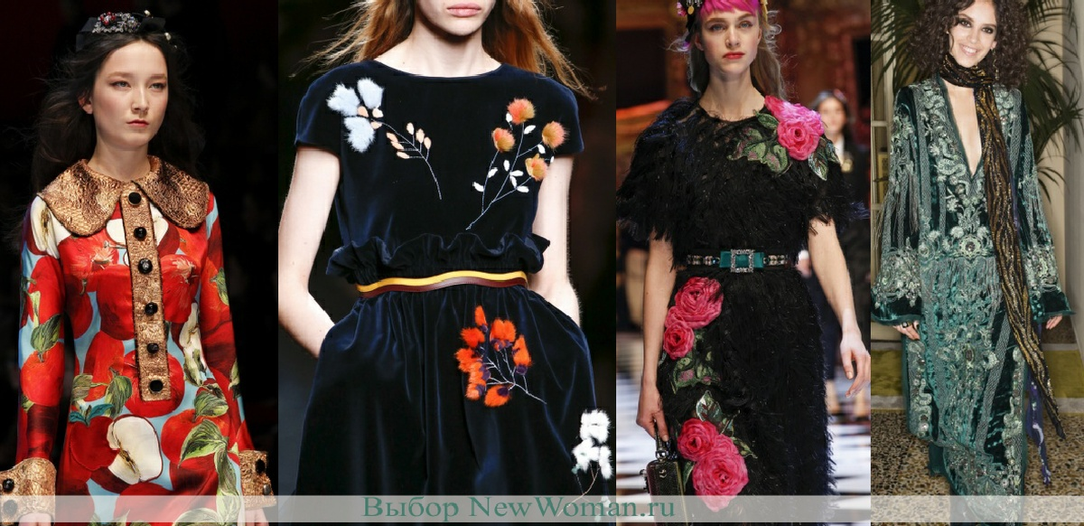 Модели платьев с крупными цветами