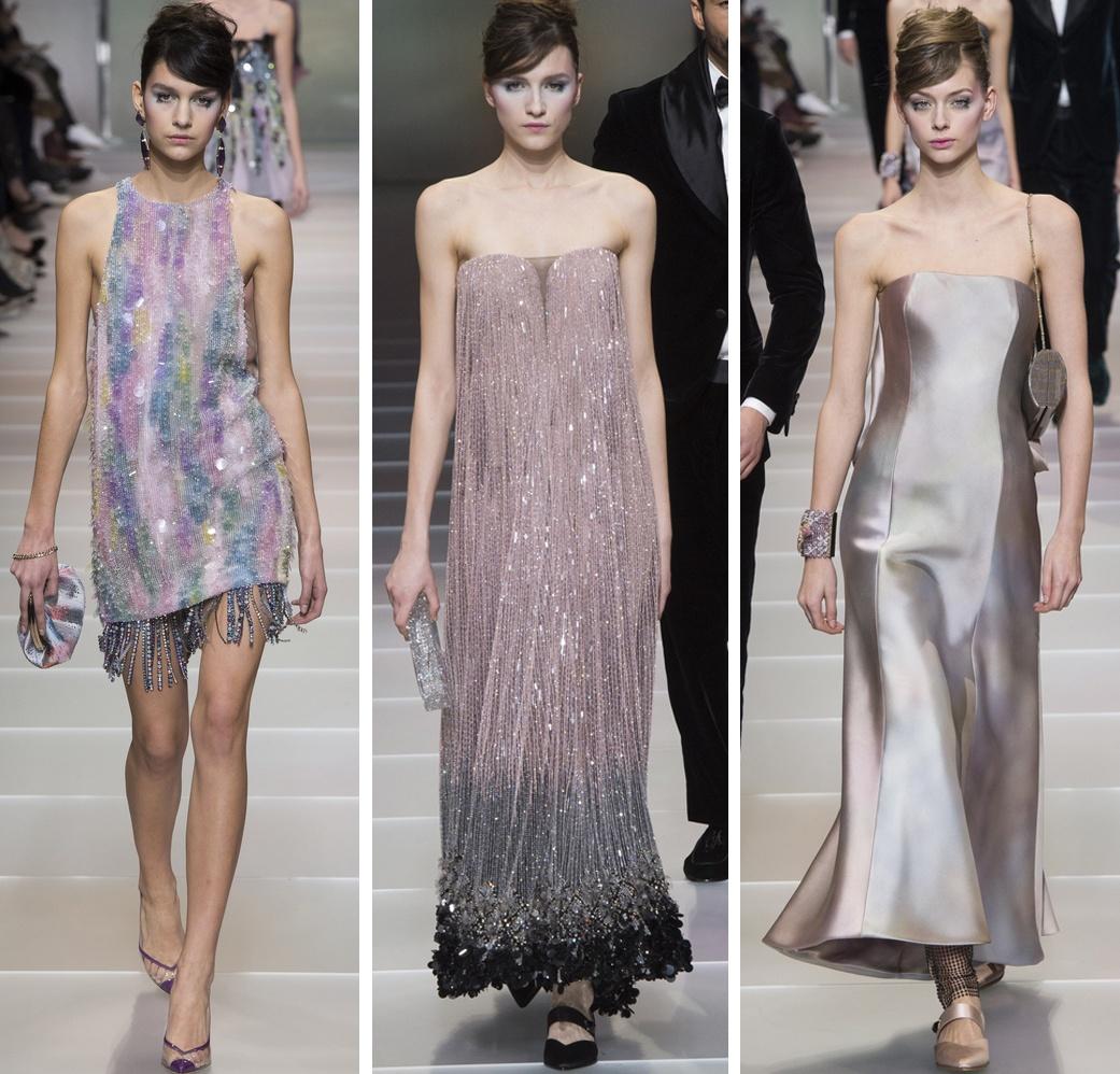 блестящие платья от Армани с бахромой и открытыми плечами