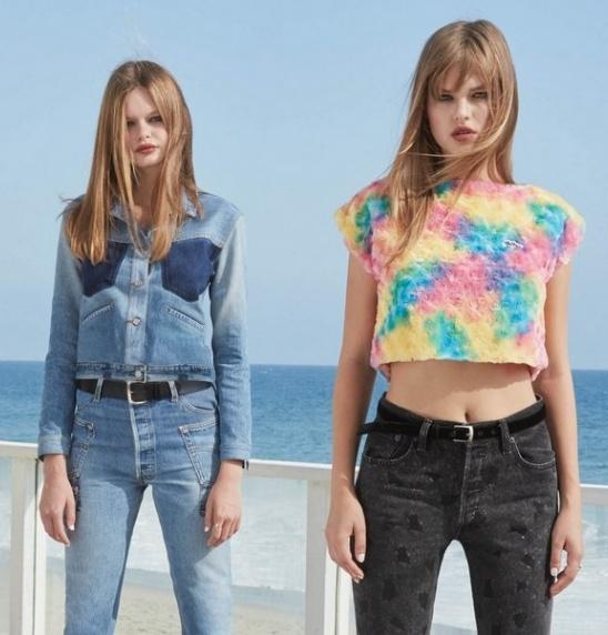 50ecb0db792 Мода для девушек. Образец весенне-летнего молодежного стиля 2018 -  коллекция джинсовой одежды от Re Done