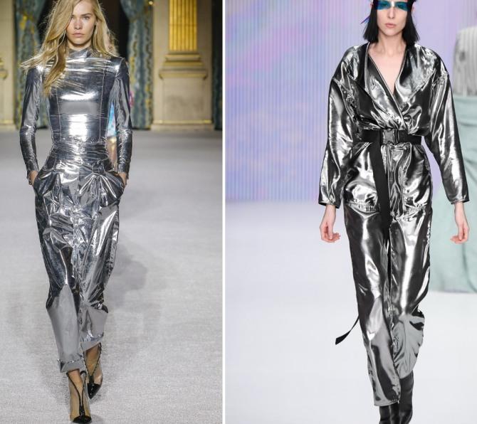 db3ee94f6d5 модный серебряный блестящий женский комбинезон осень-зима 2018 2019 из  металлизированной ткани