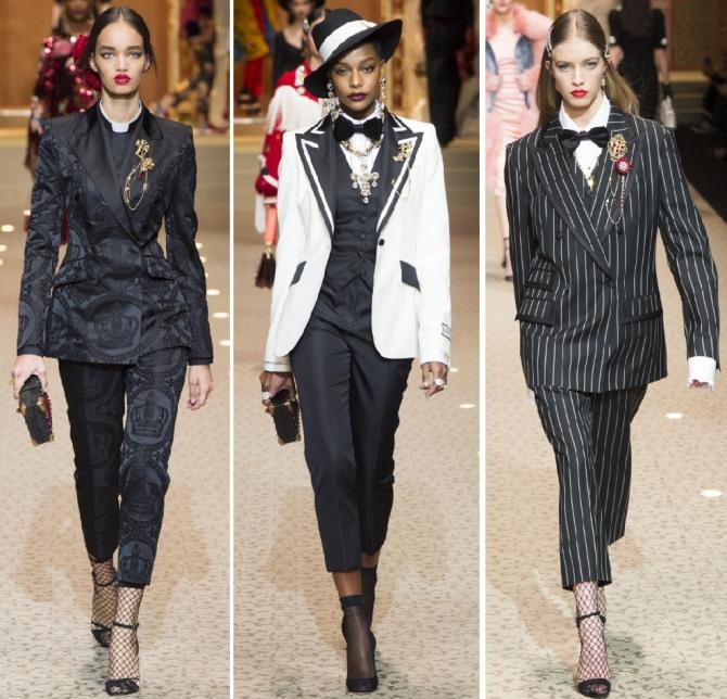 193f5fd0792 Брючные деловые костюмы от итальянского бренда Dolce   Gabbana на модный  сезон 2019