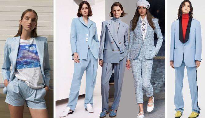 a945f5e9a9a стильная деловая одежда 2019 - женские голубые костюмы с брюками и шортами