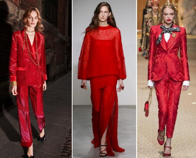 1017009ce90 вечерний дизайнерский костюм с юбкой и брюками красного цвета - мода 2019  года