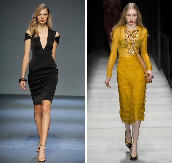 фото нарядных платьев на осень 2019 - черного цвета и желтого