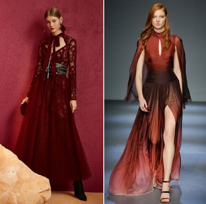 красные длинные платья - кружевное и с высоким разрезом