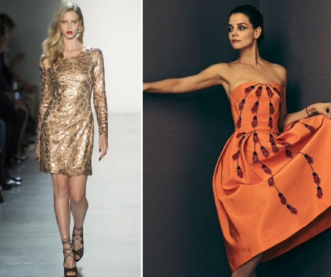 короткое золотое платье прямого кроя и корсетное рыжее платье с аппликацией и пышной юбкой