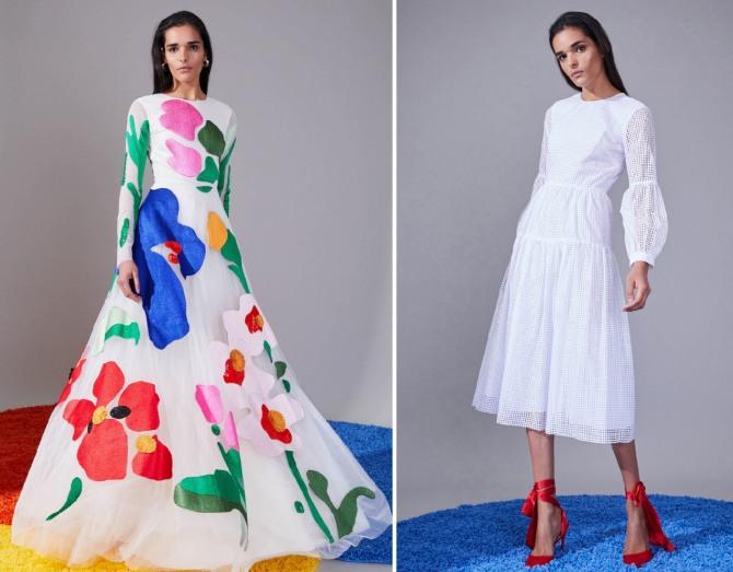 летнее платье 2019 белого цвета - в цветах, однотонное