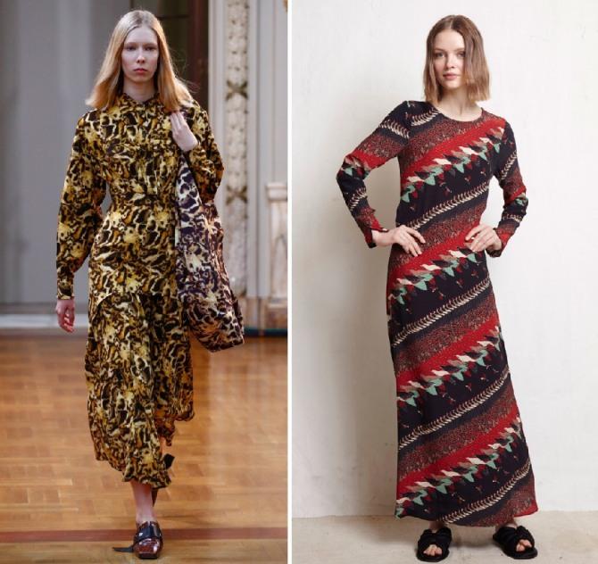 длинные платья на осень с пестрым рисунком