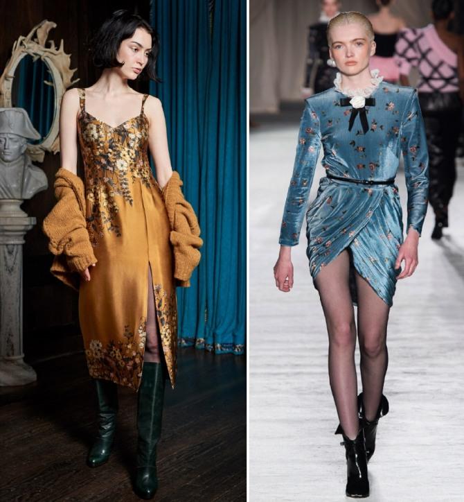 какие платья на вечер модные осенью 2019 - атласные и бархатные