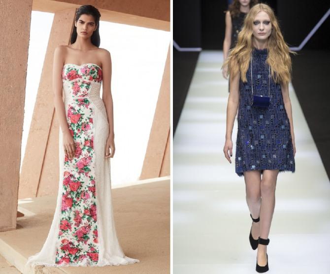 нарядные летние варианты платьев от дизайнеров Tadashi Shoji,Emporio Armani