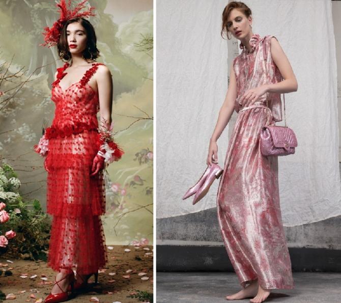 какие летние нарядные платья модные в 2019 году - фото моделей с модных дефиле от Rodarte,Giorgio Armani