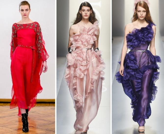 модные цвета платьев 2019 года - красный, розовый, фиолетовый