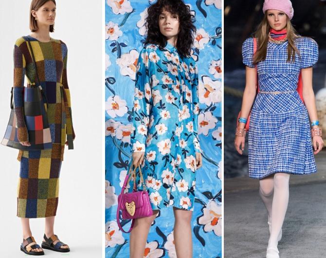 платье в стиле пэчворк, платье-рубашка на маленьких пуговках, платье с подплечниками - мода 2019