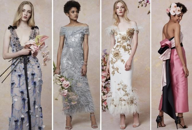 платье на вечер весна 2019 с богатым декором от бренда Marchesa