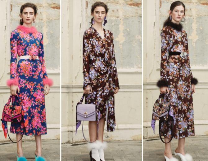 платья с длинным рукавом и меховой отделкой - зима 2019