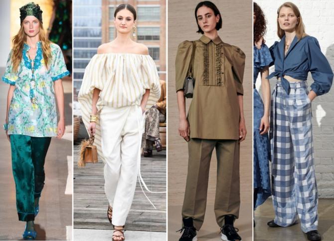 2f6fa600bef примеры сочетаемости летних блузок 2019 с брюками - фото новинки с модных  показов на 2019 год