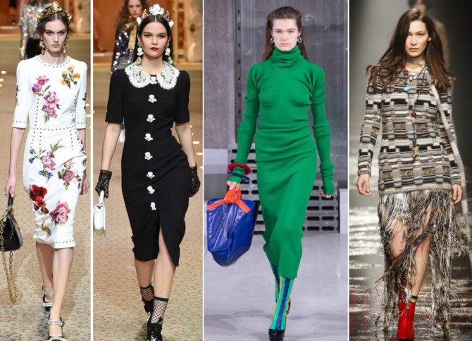 какие зимние платья модные в 2019 году - луки с модных показов Dolce & Gabbana,Marni, Missoni