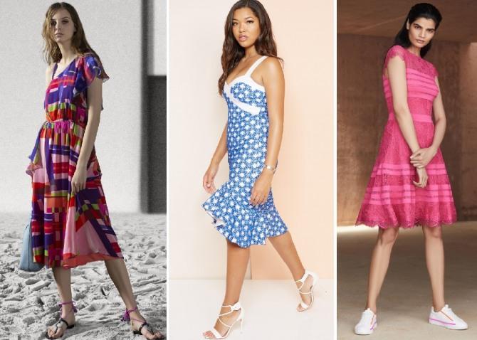 тенденции на лето - яркий геометрический рисунок, волан по низу платья, кружево