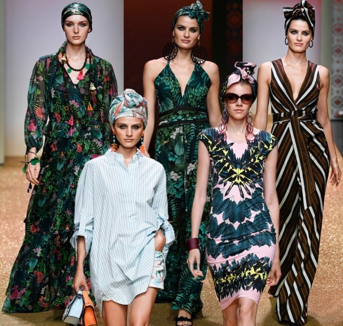 летние курортные платья 2019 с головными уборами в восточном стиле от Marc Cain