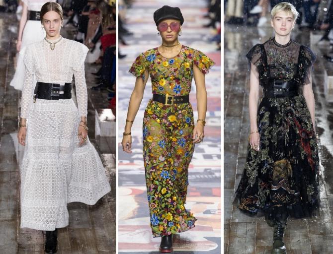 платья на весну 2019 с кожаными поясами от Christian Dior