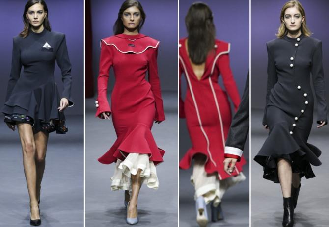 зимние модели платьев 2019 - красного и черного цвета