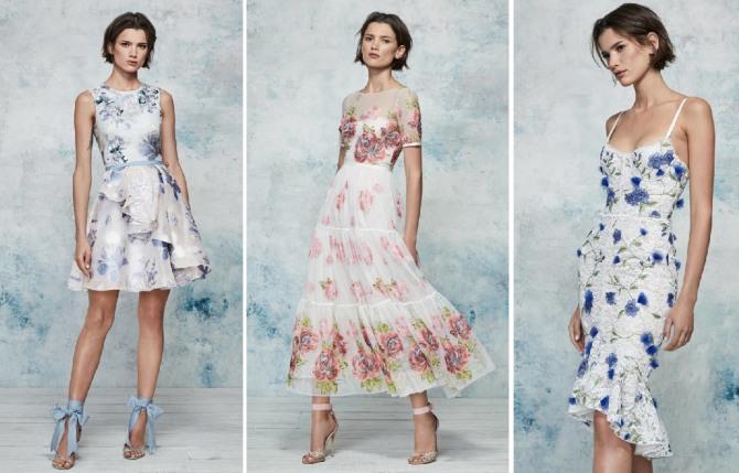 шикарные летние платья 2019 от Marchesa Notte - атлас, шифон, кружево
