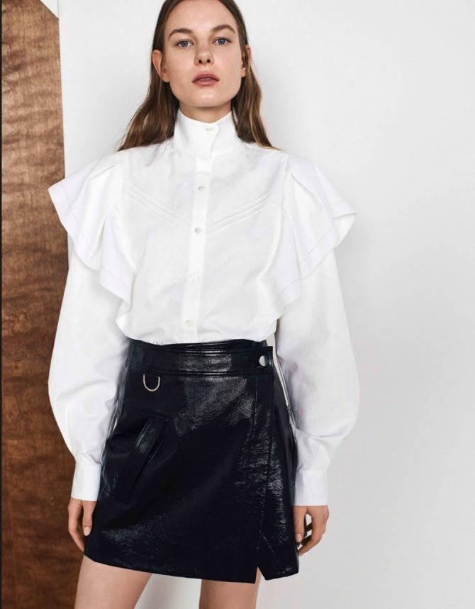 5ba6e84c130 красивая белая деловая блузка - воротник-стойка