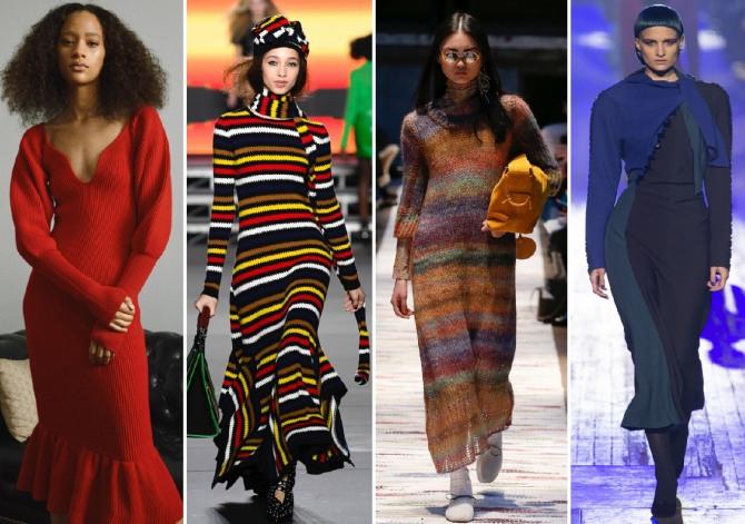 какие трикотажные платья модные в 2019 году