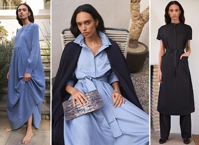 голубые и черное платье на весну 2019