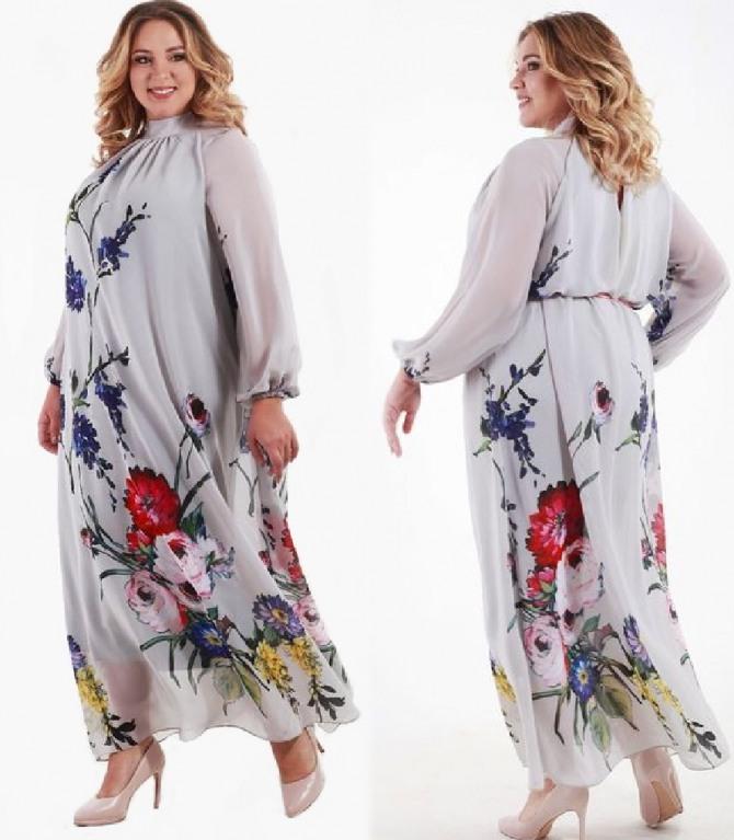 8da4ec8fb44 летнее нарядное платье для полной женщины из шифона длиною в пол