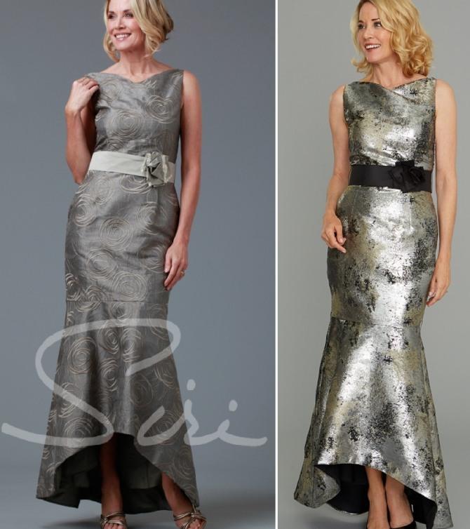 платье для мамы жениха или невесты из атласа с юбкой годе