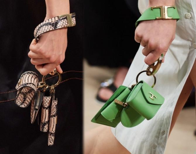 сумки малютки по четыре в одной руке - модная тенденция от бренда Tod's с подиума весна-лето 2020 года