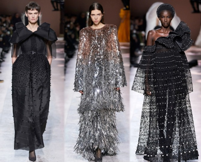 вечерние фасоны длинных платьев, закрывающих руки, для пожилых женщин за 65 - черное приталенное с поясом, блестящее двухъярусное и черное прозрачное на одно плечо - фото их коллекции Givenchy на 2021 год