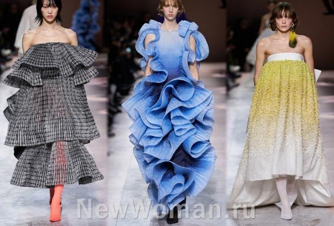 вечерние платья 2021 года со срезанными плечами и с воланами - от модного дома Givenchy (кутюрная коллекция)