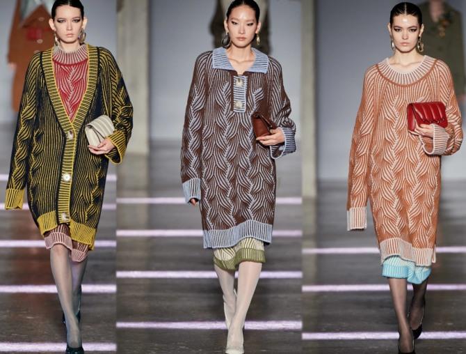 Осень-Зима 2021 года: вязаные платья-свитера. Тренды: трикотажная двухслойность, имитация ручной вязки, удлиненные рукава - фото с модных показов в Милане