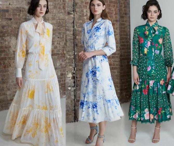 весенние модели платьев 2021 года с длинным рукавом и цветочным рисунком - фото с модных показов