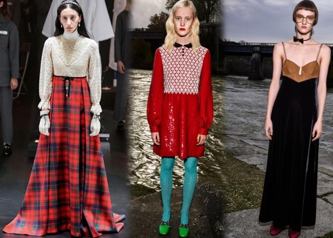 мода на платья 2021 года - осень, зима, весна, лето - сочетание тканей различных фактур, цвета, рисунков - коллекция Гуччи