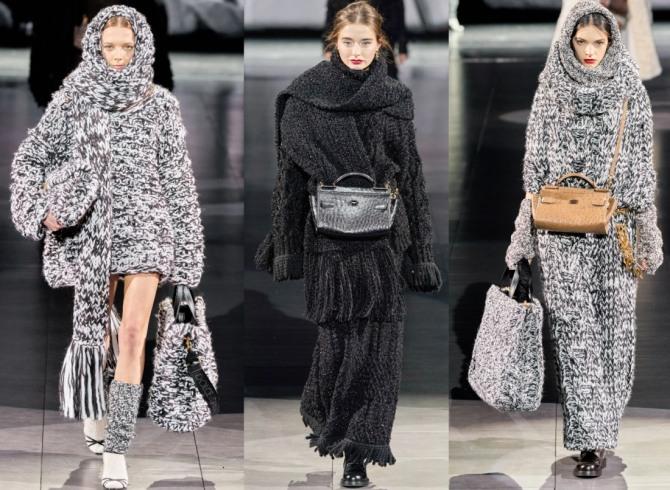 вязаное платье-пальто холодного сезона 2021 года