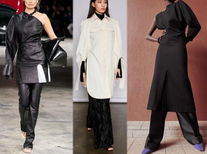 с какими брюками носить повседневное женское платье 2021 года - луки с подиумов мировых столиц
