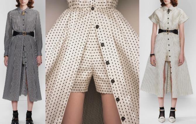 модный тренд 2021 года - платье с расстегнутой застежкой-планкой поверх шорт